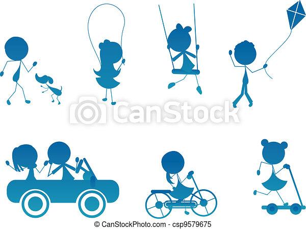 ativo, silueta, crianças, vara, caricatura - csp9579675