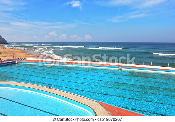 atlântico, praia, piscina, costa - csp19878267