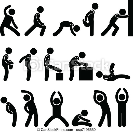 atlético, estiramento, exercício, pessoas - csp7196550