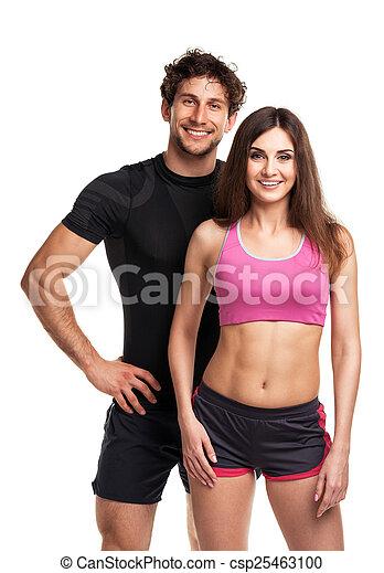 atlético, pareja, después, condición física, blanco, ejercicio - csp25463100