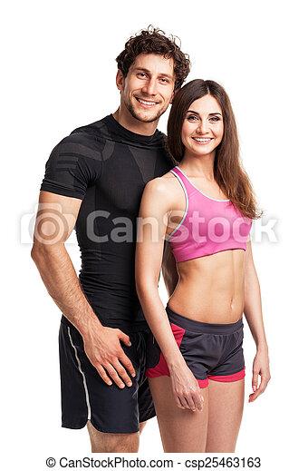 atlético, pareja, después, condición física, blanco, ejercicio - csp25463163