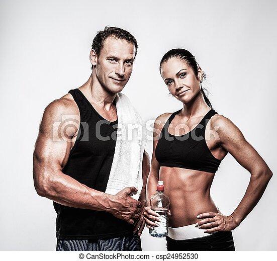 atlético, pareja, después, ejercicio, condición física - csp24952530
