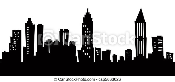 chicago skyline black and white drawing