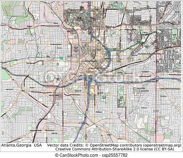 Atlanta Georgia Usa City Map Aerial View