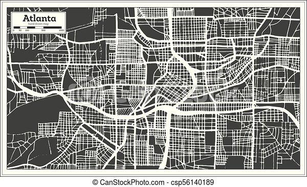 Atlanta Georgia On Map Of Usa.Atlanta Georgia Usa City Map In Retro Style Outline Map