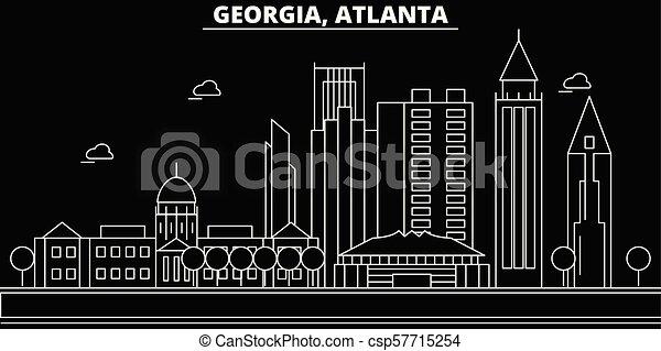 atlanta silhouette skyline usa atlanta vector city american