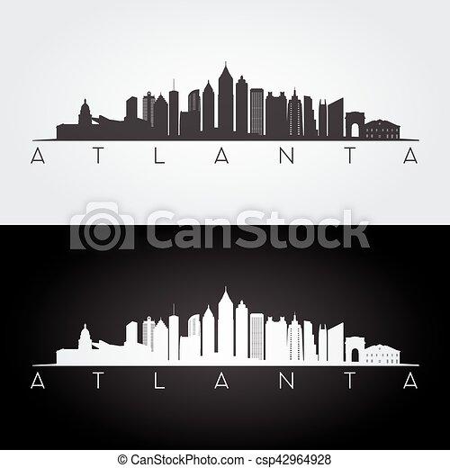 atlanta skyline silhouette atlanta usa skyline and vector rh canstockphoto com Skyline Outline Detroit City Skyline Vector