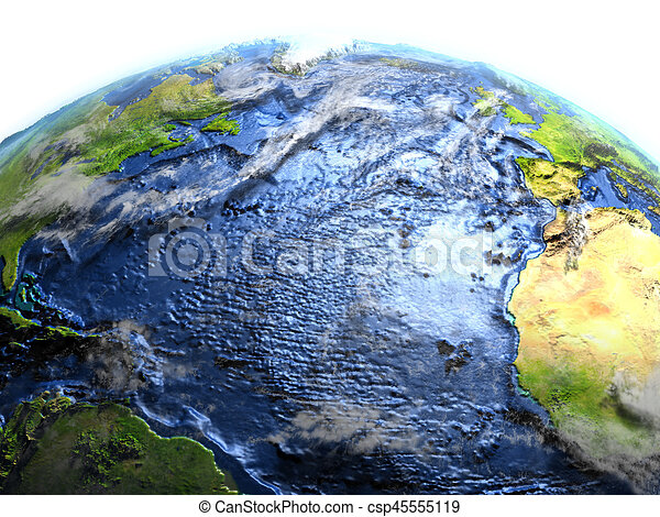 Atlantic Ocean On Earth Visible Ocean Floor Atlantic Ocean On 3d