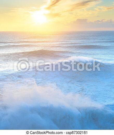 Atlantic ocean sunset Portugal colorful - csp87302181