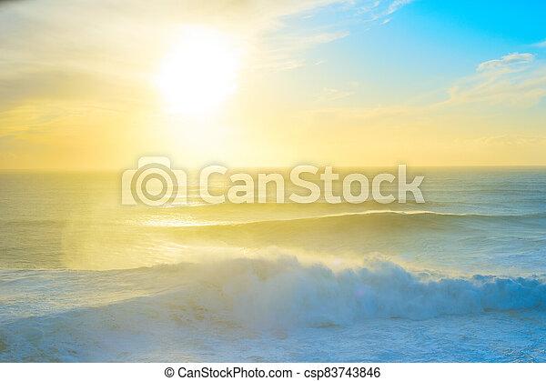 Atlantic ocean sunset Portugal colorful - csp83743846