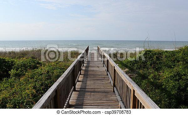 Atlantic Ocean view over a boardwalk - csp39708783