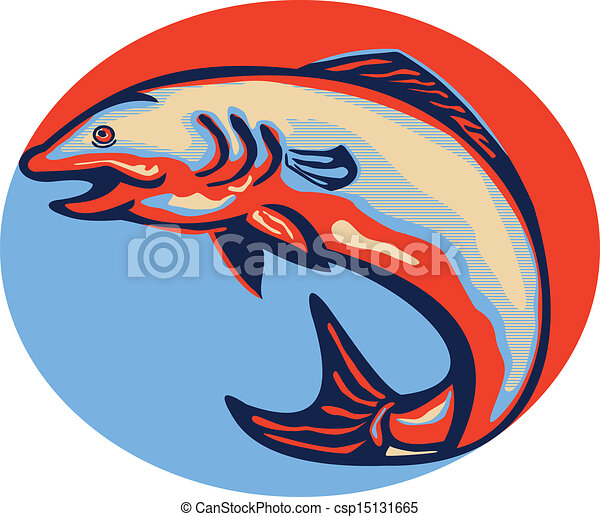 atlantic salmon fish jumping retro illustration of an clip art rh canstockphoto com cooked salmon clipart salmon clip art images