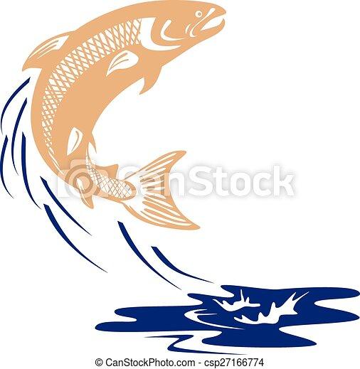 Atlantic Salmon Fish Jumping Water Isolated - csp27166774