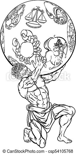Atlas Mythologie Grecque Illustration Etoile Titan Ciel Haut Grec Tenue Signes Atlas Zodiaque Mythologie Canstock