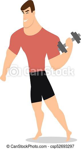 El personaje de un hombre fuerte sosteniendo pesas. Vector - csp52693297