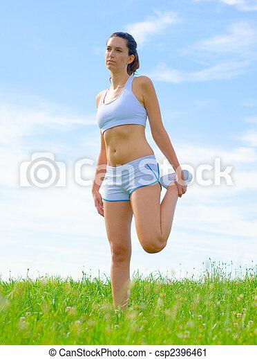 atleta, mujer, maduro - csp2396461