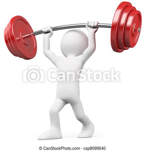 atleta, pesas, elevación - csp8099540