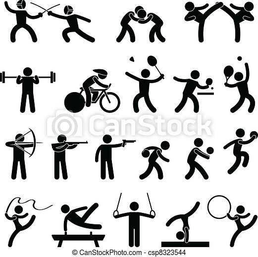atletisk, boldspil, indoor, sport, ikon - csp8323544
