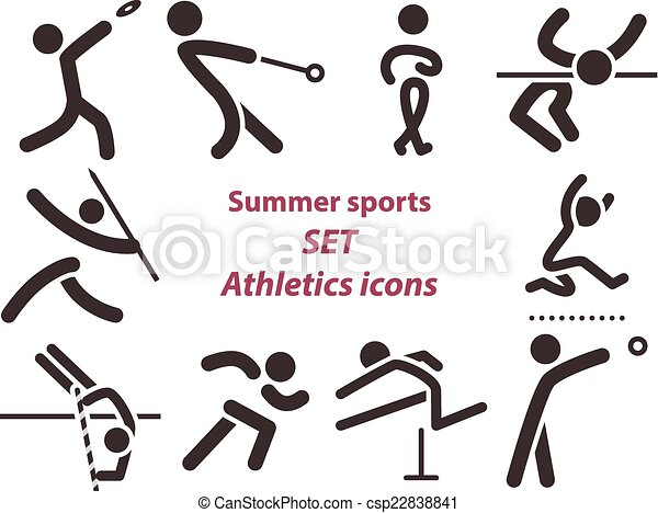 atletyka, komplet, ikony - csp22838841