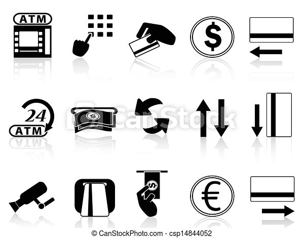 atm machine and credit card icons set  - csp14844052