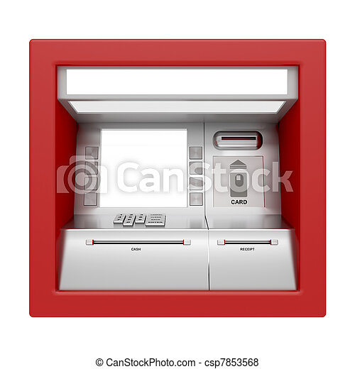 ATM machine isolated on white - csp7853568