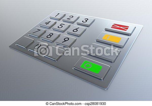 Atm machine keypad. - csp28081930