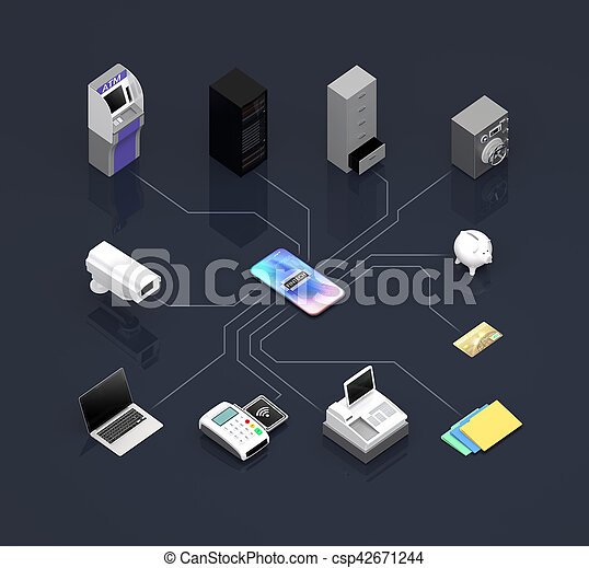 ATM, NFC, mobile payment devices etc, connected by network - csp42671244