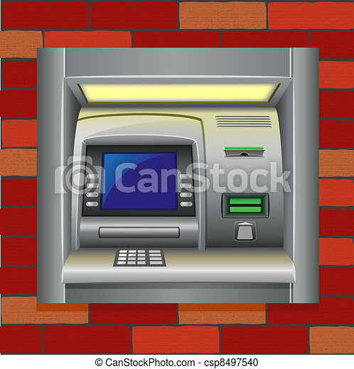atm on a brick wall - csp8497540