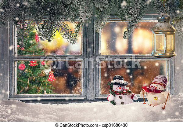 atmospheric christmas window sill decoration csp31680430