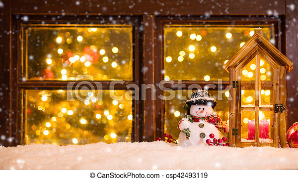 atmospheric christmas window sill with decoration csp42493119