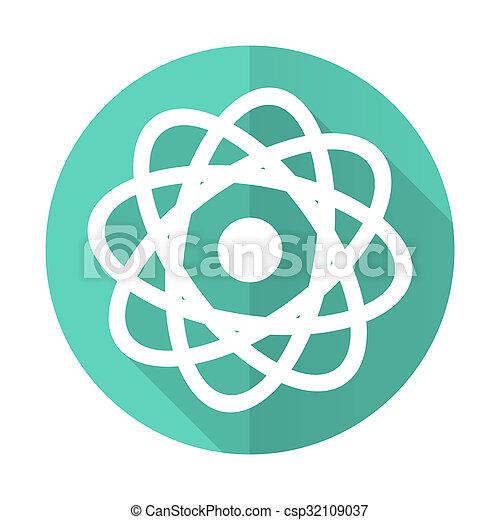 atom, desgn, błękitne tło, ikona, koło, cień, płaski, długi, biały - csp32109037