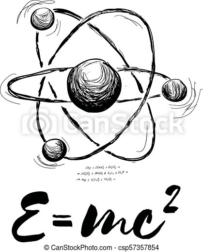 Atom drawn with formula. Vector abstract illustration on white - csp57357854