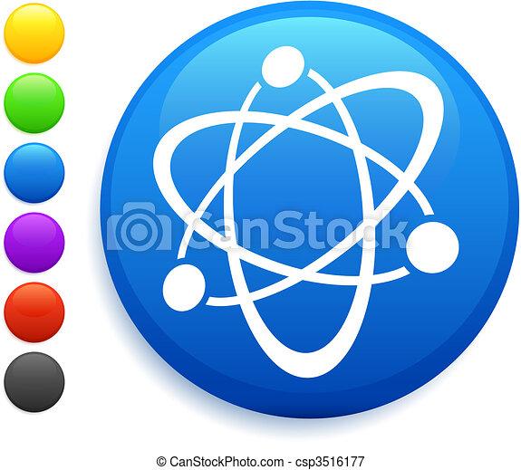 atom icon on round internet button - csp3516177