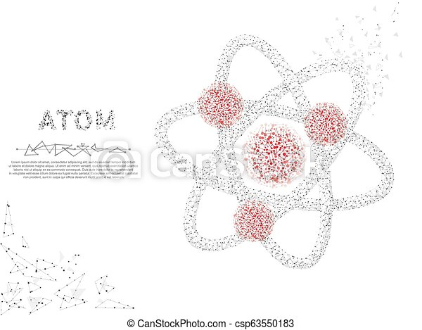 atom. low poly wireframe illustration. vector polygonal image, consisting  of points, lines, and shapes in the form of stars, | canstock  can stock photo
