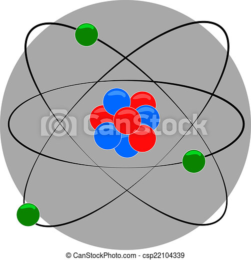Atom Structure With Nucleus And Electron Around Vectors