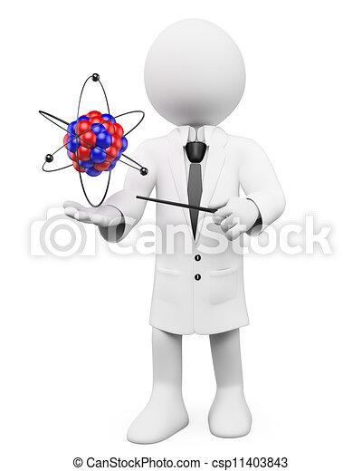 atome, physique, prof, gens., 3d, blanc - csp11403843