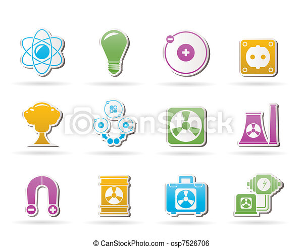 Atomic and Nuclear Energy Icons - csp7526706
