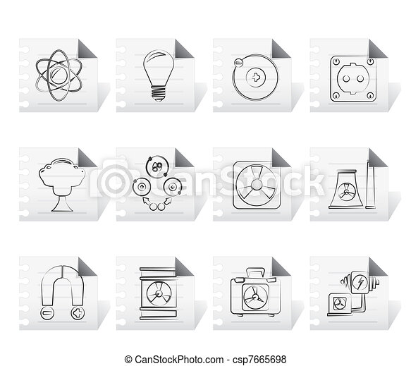 Atomic and Nuclear Energy Icons - csp7665698