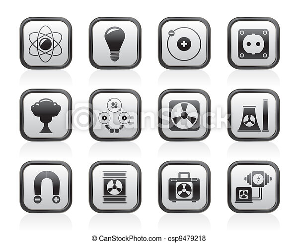 Atomic and Nuclear Energy Icons - csp9479218