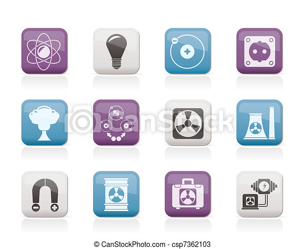 Atomic and Nuclear Energy Icons  - csp7362103