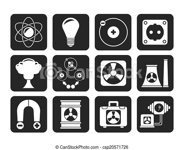 Atomic and Nuclear Energy Icons - csp20571726