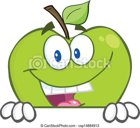 Manzana escondida detrás de una señal en blanco - csp14884913