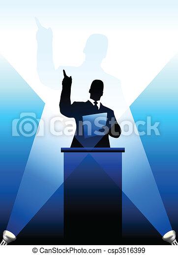 atrás de, silueta, business/political, pódio, orador - csp3516399