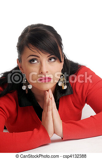 Atractive brunette woman in red sweater  - csp4132388