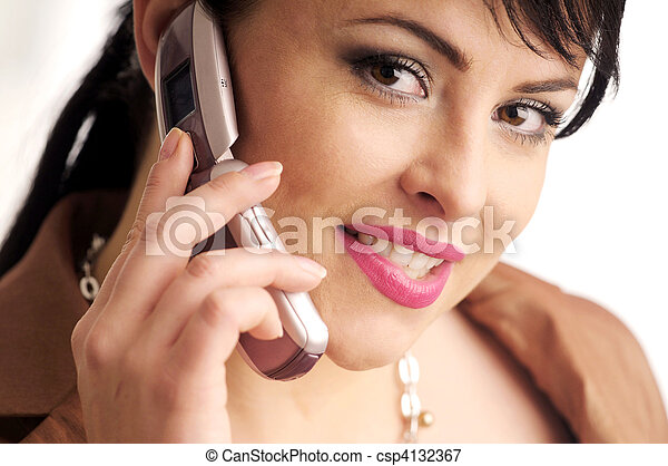 Atractive brunette woman with mobile phone - csp4132367