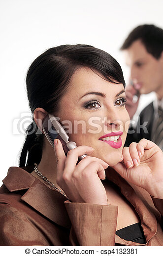 Atractive brunette woman with mobile phone - csp4132381