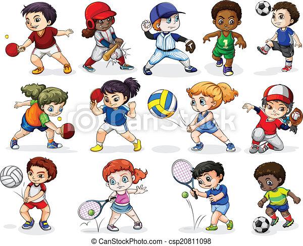 Atractivo, actividades, diferente, niños deportivos. Actividades ...