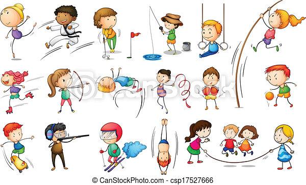 atractivo, diferente, niños deportivos - csp17527666