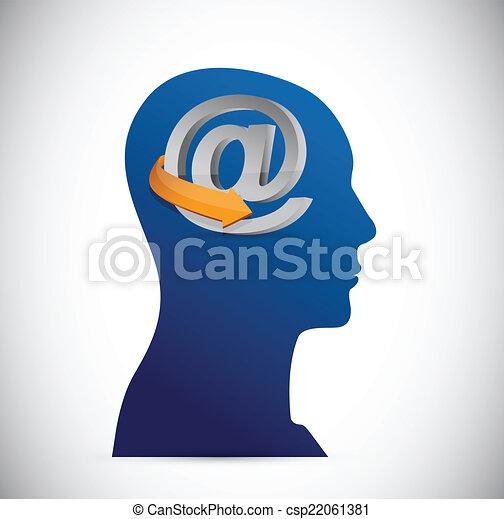 Att Symbol And Head Illustration Design Over A White Vector