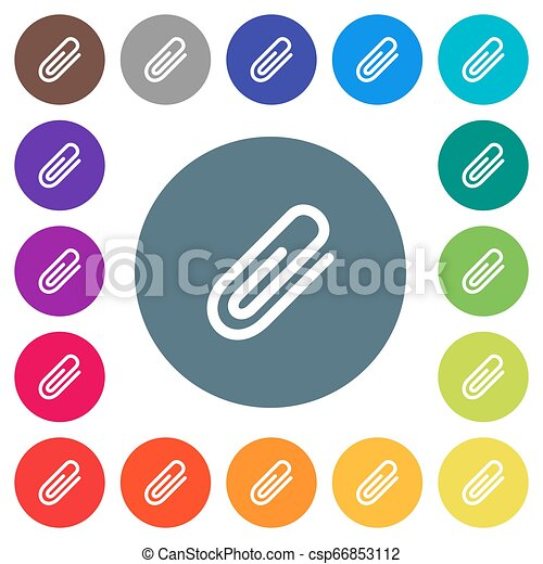 Attachment flat white icons on round color backgrounds - csp66853112